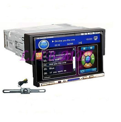 """Backup Camera 7"""" 1 Din Touch Screen Car Stereo Radio DVD Player Bluetooth iPod"""