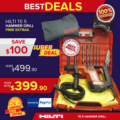 Hilti Te 5 Hammer Drill, Preowned, Free Bits, And Extras, Fast Ship