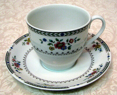 Royal Doulton Kingswood cup saucer England TC1115  pink yellow blue flowers