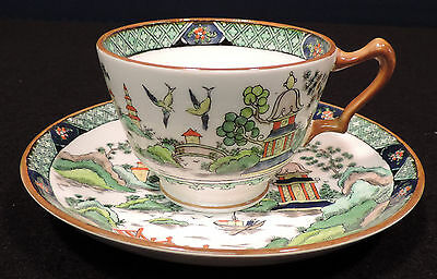 Crown Staffordshire bone china vintage oriental footed cup saucer England