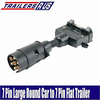 7 Pin Large Round to 7 Pin Flat Trailer Connector Adaptor Plug