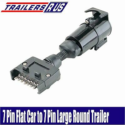 7 Pin Flat to 7 Pin Large Round Trailer Connector Adaptor Plug