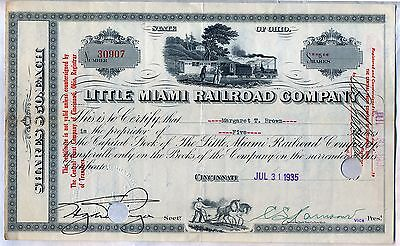 Little Miami Railroad Company Stock Certificate Ohio