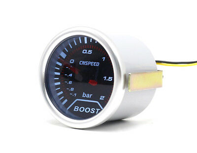 "52mm 2"" Smoked Dial Turbo Boost gauge -1  to 2 Bar Pressure white back-light New"