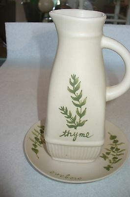 "Small Pitcher & Plate w/ Thyme - Oregano 6"" H"