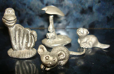 PEWTER x4 MINIATURE FIGURINES Snake Chipmunk MOUSE & Fairy Under Mushroom Metal