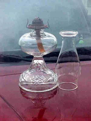 EARLY american prescut  anchor hocking STAR OF DAVID  oil lamp burner and chimne