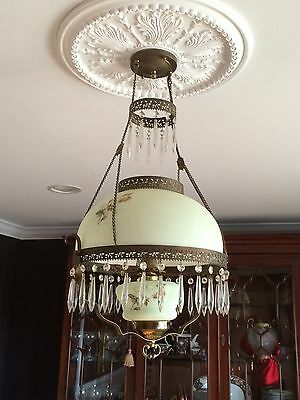 Antique European Hanging Victorian Oil Lamp Chandelier converted to electric