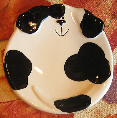 August Ceramics Black & White Spotted Dog Spoon Rest