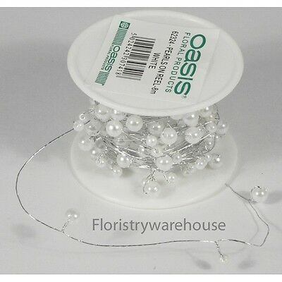 White pearls on silver wire 8 metre long reel of 4-6mm pre wired acrylic pearls