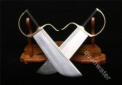 A Pair Of Folded Steel Blade Copper Handle Swords Called Butterfly Swords (蝴蝶刀)
