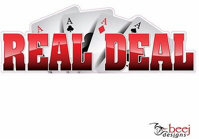 Reel Deal sticker 600x210mm - RED Fishing Rod Boat tackle decal fish hook
