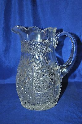 EAPG Pineapple Diamond Bands Clear Crystal Pitcher Saw-tooth Rim & Handle 8 1/2""
