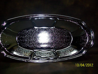 vintage,bread or roll server,chrome, stainless plate, satin finish, new