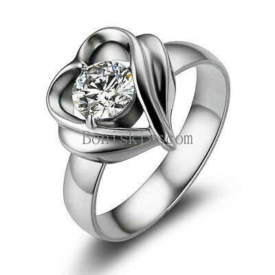 Silver Stainless Steel Open Heart Round CZ Ladies Womens Love Engagement Ring
