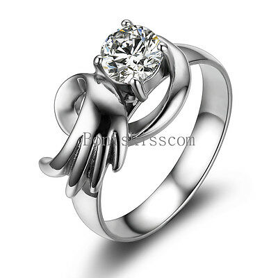 Silver Stainless Steel Angel Wing Round CZ Ladies Womens Love Engagement Ring