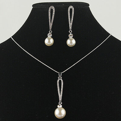 14k Gold Filled 10-12mm Sea Shell Pearl Austrian Crystal Necklace Earring GP3029