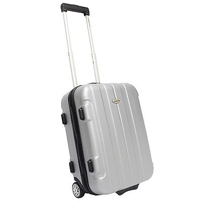 """Traveler's Choice Rome 20"""" Silver Hardcase Carry-on Rolling Luggage Suitcase Bag"""