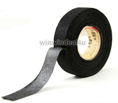 BLACK LINEN ADHESIVE FABRIC CLOTH WIRING LOOM HARNESS INSULATING TAPE (19mmX15m)