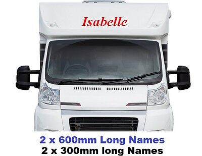 4 x Personalised Name Decals Stickers Graphics, For Campervan Motor Home Caravan