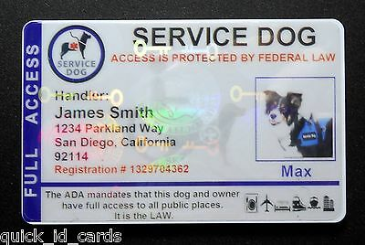 Holographic Service Dog Id Card For Service Animal Ada Rated   8 Bh