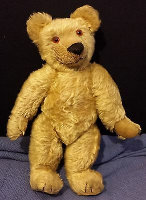 """17""""  Antique English Chad Valley 1920's-1930's Mohair Button Under Chin Bear"""