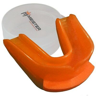 MEISTER ORANGE DOUBLE MOUTH GUARD & CASE - CUSTOM MOLDABLE Boxing MMA Gum Shield