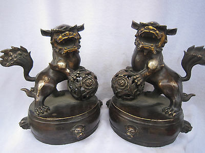 "10"" Chinese Silver Bronze Gold Gilt Foo Fu Dog Lion Flower Ball Drum Statue Pair"