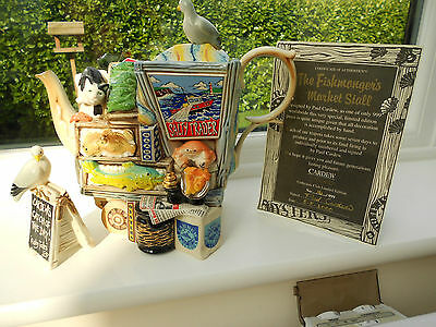 CARDEW LARGE FISHMONGER MARKET STALL TEAPOT WITH CAT COLLECTORS LIMITED EDITION