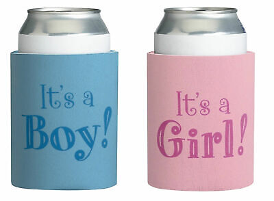 Baby Shower Stubby Holder Drink Cooler Its a Girl Boy Pink Blue Favour Gift