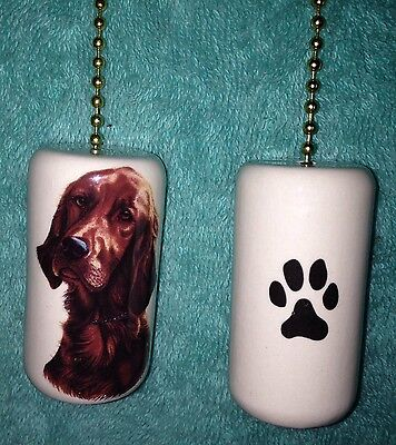 One Irish Setter Dog Fan Pull With A Paw Print On The Back 2""