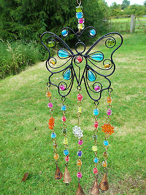 Butterfly Bells And Beads Windchime Wind Chime Mobile Hanging Garden Decoration