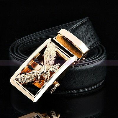 Fashion Genuine Leather Mens Gold Automatic Buckle Waist Strap Belts Waistband