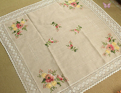 "Elegant Beige Embroidered Square TableCloth 36""/90cm Flowers Crochet trimmed"