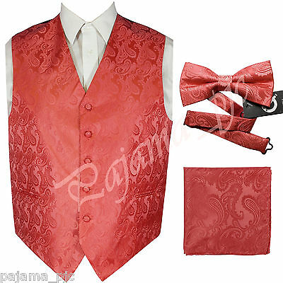 CORAL XS to 6XL Paisley Tuxedo Suit Dress Vest Waistcoat & Bow tie & And Hankie