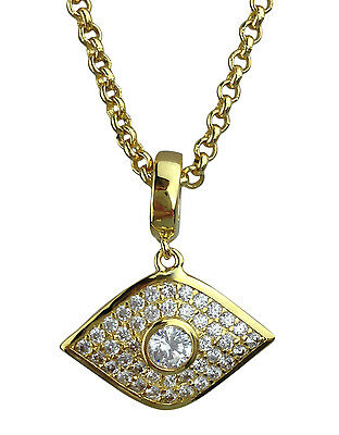 Evil Eye Lucky Protection Pendant Necklace Gold or Silver Plated in Gift Box