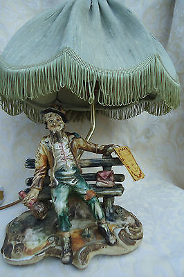 Capodimonte old drunk man Figurine NOVELTY LAMP Marked & Certificate