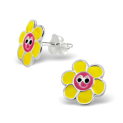 Children's Smily Flower Earrings in Pink and Yellow Enamel over Sterling Silver
