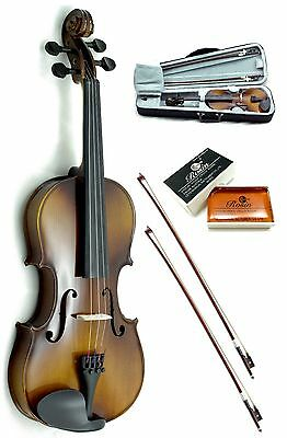 New 4/4 Full Size Solid Wood Violin w Rosin, Lightweight Case+Extra Bow