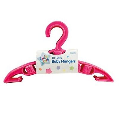 10 x Baby Girl Clothes Coat Dress Hangers Nursery Wardrobe Space Saver New PINK
