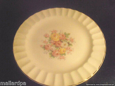 "Edwin M. Knowles Semi Vitreous Side / Dessert Plate 46-9 - 7 1/4"" Floral Rose"