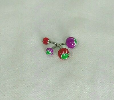 2 Mixed Color Glass Navel Belly Button Rings Piercing Body Jewelry
