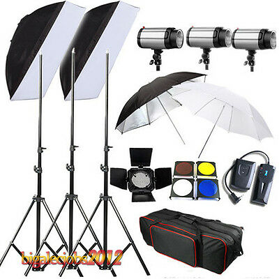 3*300 Flash Estudio de Kit Iluminación Estroboscopio 900W +Caja Suave + Soport