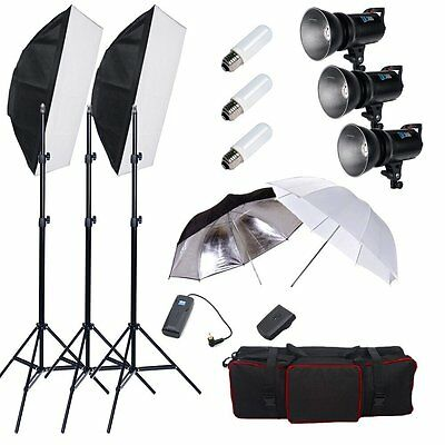 900W Flash head Estudio Kit Iluminación LED Estroboscopio Caja Suave Sopor