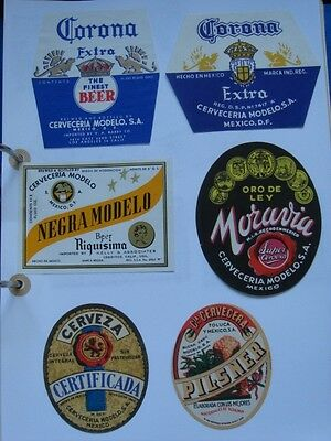 6 OLD BEER LABELS  MEXICO #13