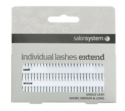 Salon System Individual Single Black Eye Lash Extend Sizes: Short, Medium Long