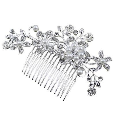 Crystal Rhinestone Wedding Flower Pearls Hair Clip Comb For Women Bride