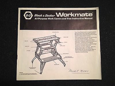 Black & Decker Workmate Model 79001 Instruction Owners Manual Canadian Canada