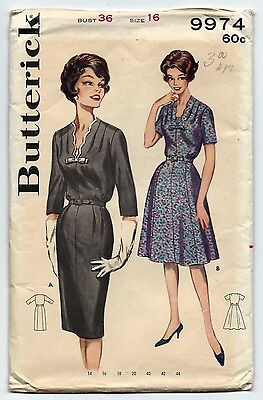1960s Vintage Sewing Pattern Butterick 9974 Scalloped Edge Dress Two Styles