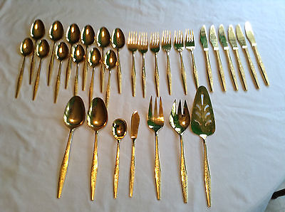 Retro JH Carlyle Golden Bouquet 31 pc Gold Electroplate Pattern Silverware Set